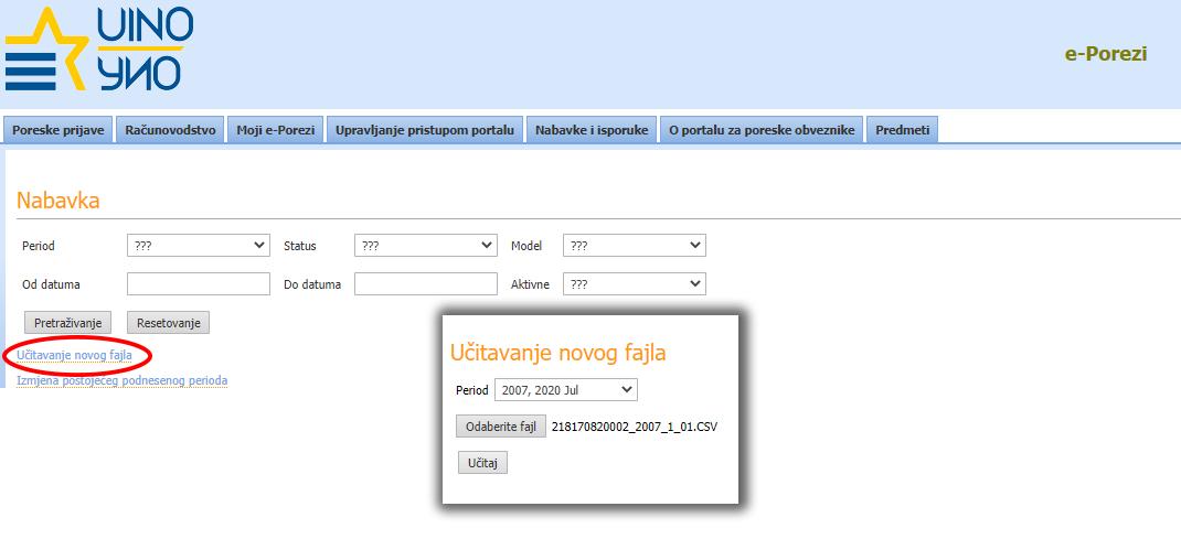 Kako učitati datoteku na e-Porezi za elektronski KUF i KIF