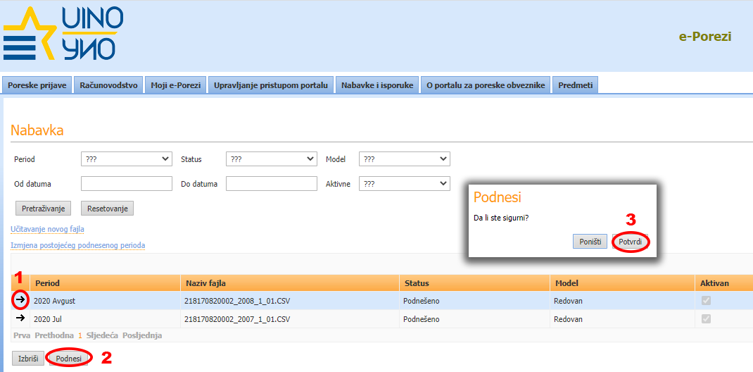 Izgled portala e-Porezi za unos elektronskog KUF-a i KIF-a